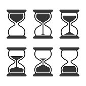 Hourglass retro vector icons set isolated on white background