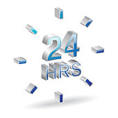 24 Hours 3d Glossy Vector Icon Design