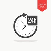 24 hours a day icon, open around the clock concept.