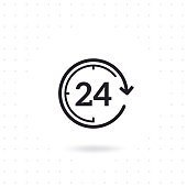 24 hours flat vector icon