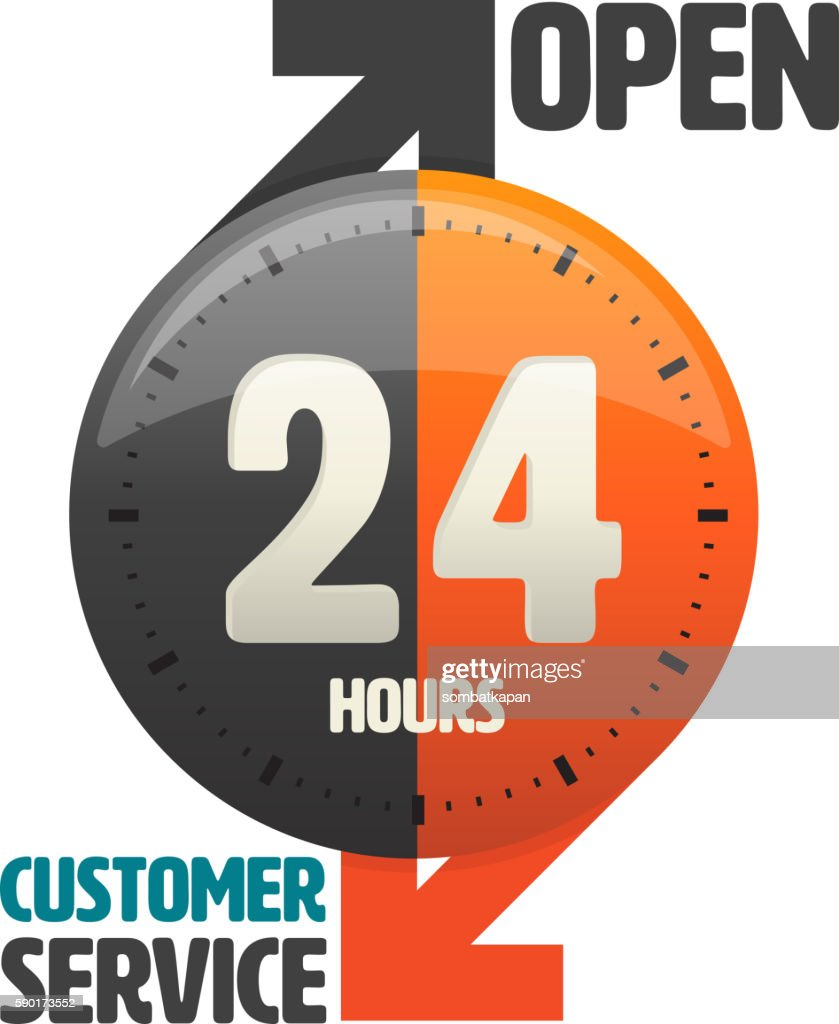 24 hours open customer service icon.