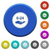 24 hours service sticker beveled buttons