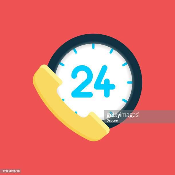 24時間サポートフラットアイコン。フラットベクトルイラストレーションシンボルデザイン要素 - 24時間営業点のイラスト素材/クリップアート素材/マンガ素材/アイコン素材