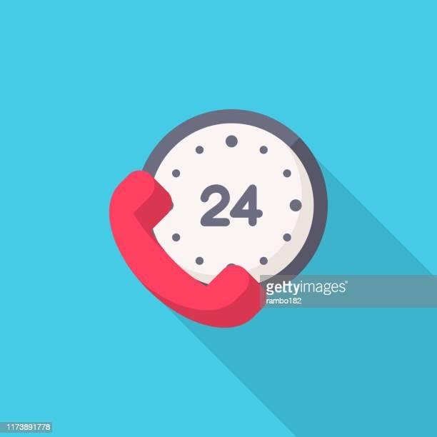 24時間、時間、時計フラットアイコン。ピクセルパーフェクト。モバイルとウェブ用。 - 24時間営業点のイラスト素材/クリップアート素材/マンガ素材/アイコン素材