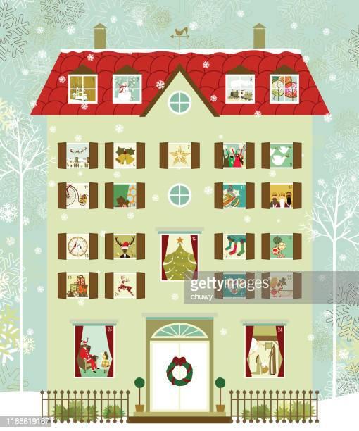illustrazioni stock, clip art, cartoni animati e icone di tendenza di house advent calendar - avvento