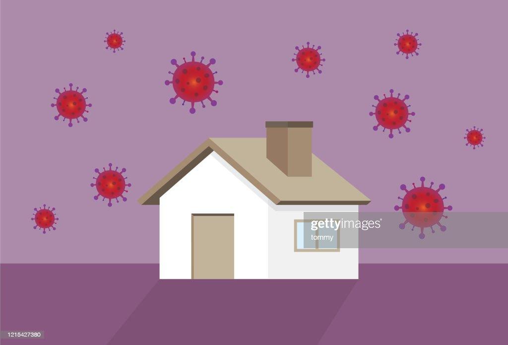 家とウイルス : ストックイラストレーション