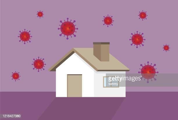 ilustraciones, imágenes clip art, dibujos animados e iconos de stock de casa y un virus - cuarentena
