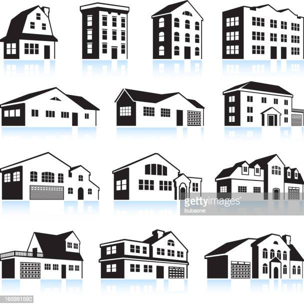 3D House and Apartment black & white vector icon set