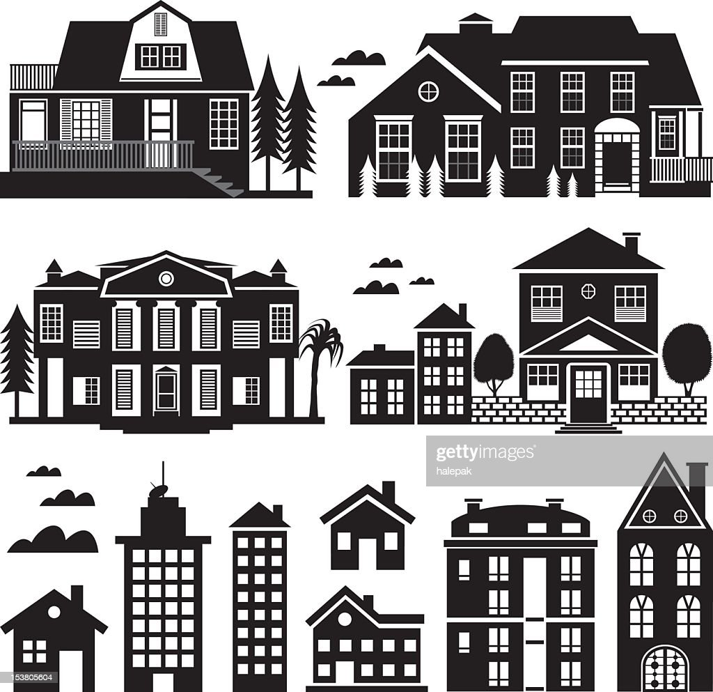 House and Apartment Building Silhouette, Icon Set : stock illustration