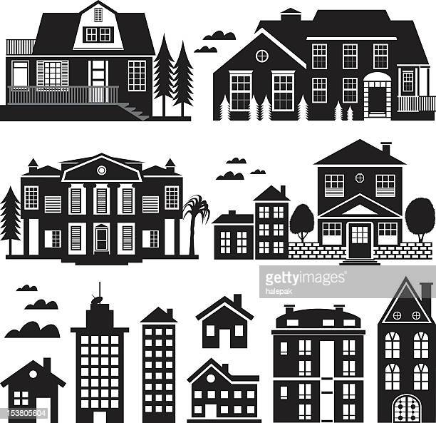 House and Apartment Building Silhouette, Icon Set