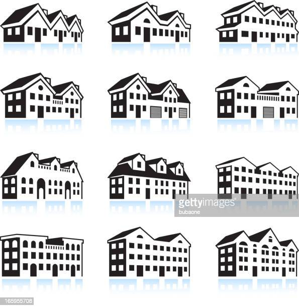 3D House and Apartment Complex black & white icon set