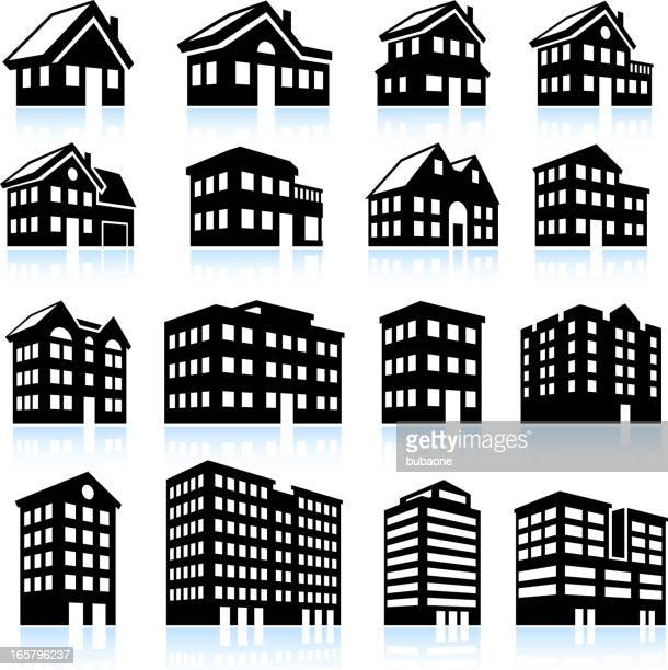 3d house and apartment icons black and white - house exterior stock illustrations, clip art, cartoons, & icons