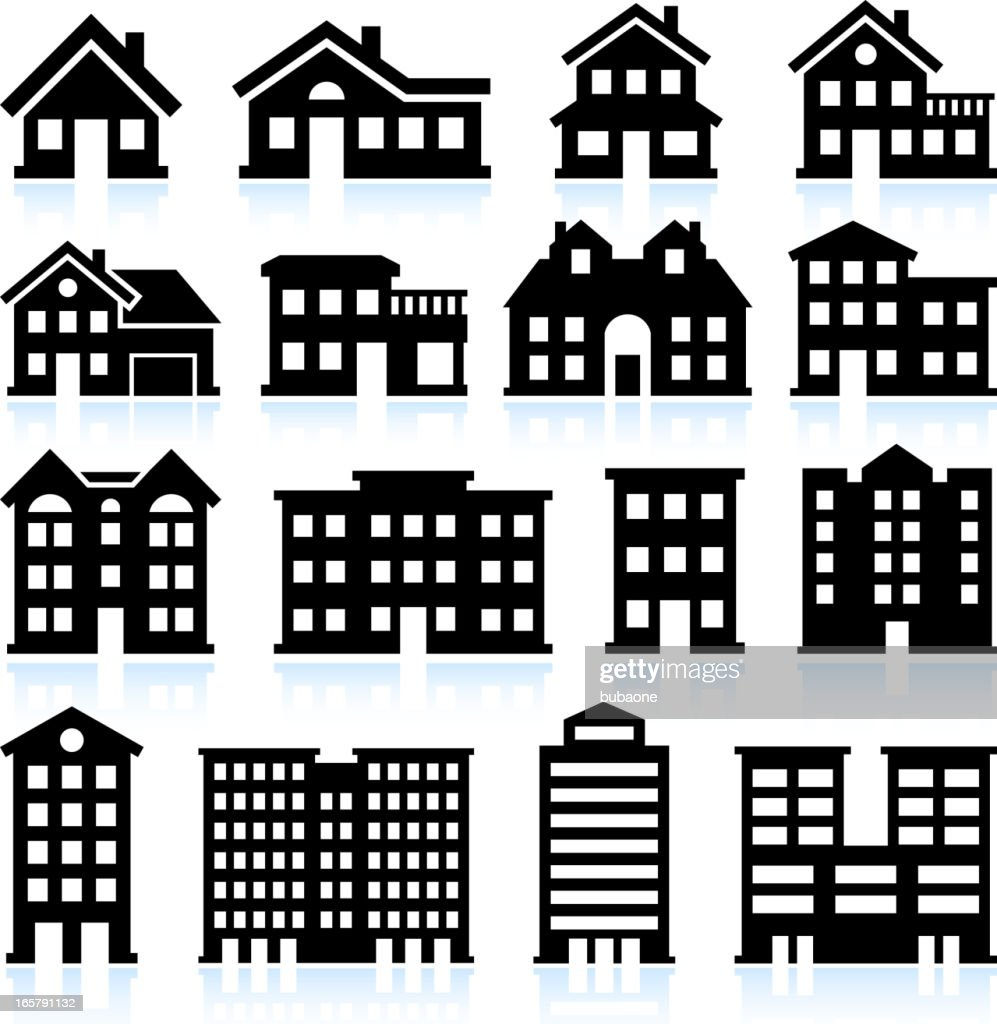 House and apartment icons on white background