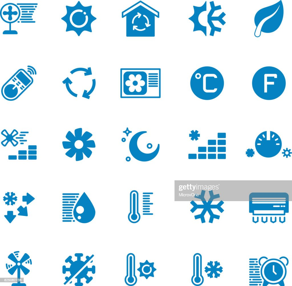 House and car air conditioning, heating and cooling vector icons