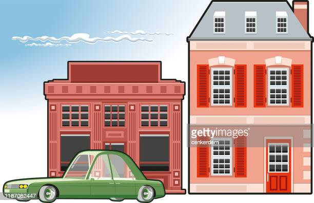 house and car vector - car ownership stock illustrations, clip art, cartoons, & icons