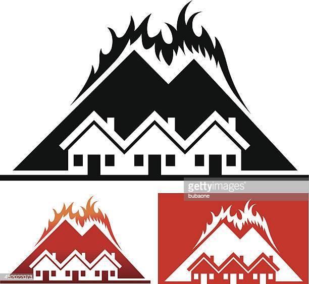ilustraciones, imágenes clip art, dibujos animados e iconos de stock de casa y community with wild fuego - incendio forestal