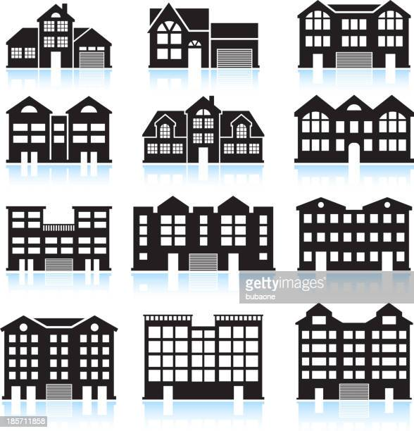 house and condo building black & white vector icon set - country club stock illustrations, clip art, cartoons, & icons
