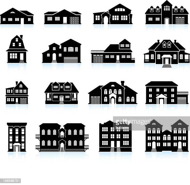 house and condo building innovation black & white icon set - country club stock illustrations, clip art, cartoons, & icons