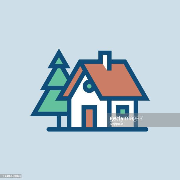 house and conifer - hut stock illustrations