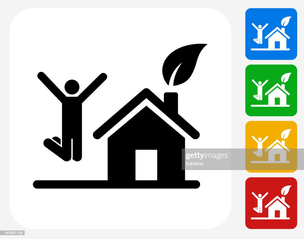 House and Happy Person Jumping Icon Flat Graphic Design