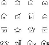 House and home icon set vector. Living construction and symbol concept. Thin line icon theme. White isolated background. Illustration vector.