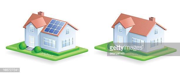 bildbanksillustrationer, clip art samt tecknat material och ikoner med house and lawn icon - solenergi
