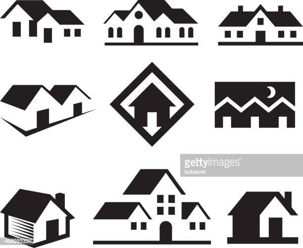 house and real estate black & white royalty free-vector arts - country club stock illustrations, clip art, cartoons, & icons
