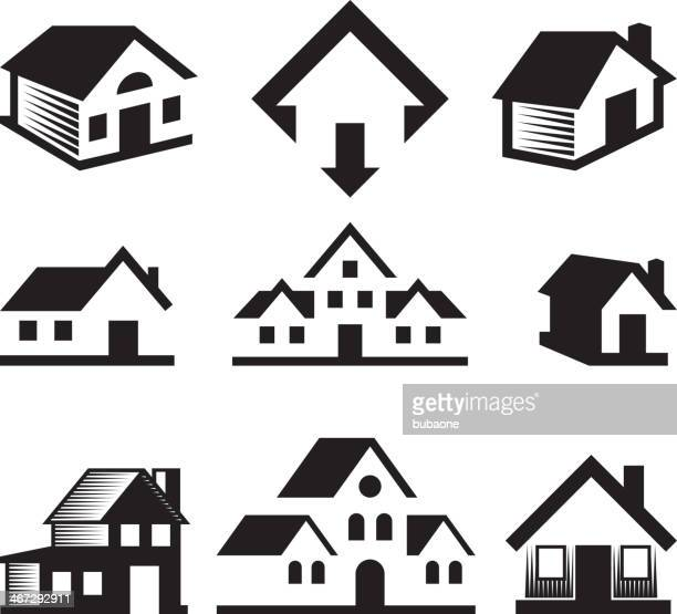 House and Real Estate Black & White royalty-free vector arts