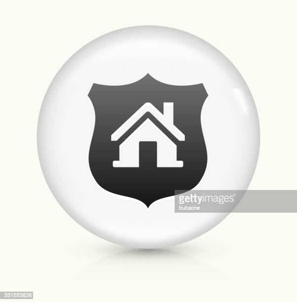 House and Shield icon on white round vector button