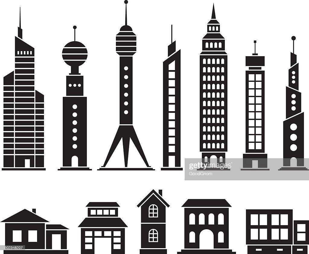 House and skyscraper set : stock illustration