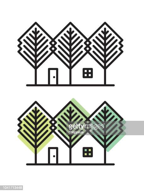 house and trees - hut stock illustrations