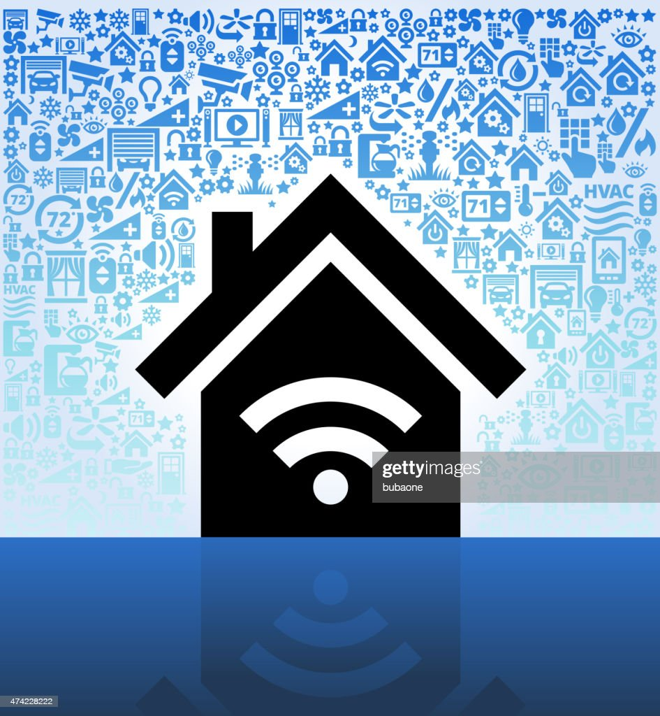 House and Wi-Fi on Home Automation and Security Vector Background : stock vector
