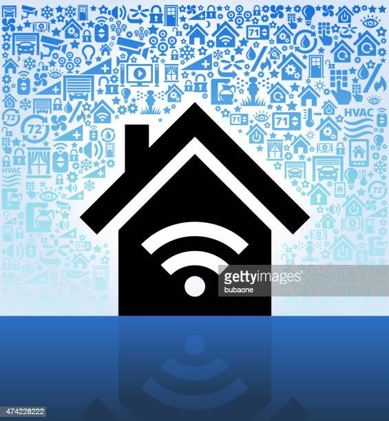 House and Wi-Fi on Home Automation and Security Vector Background