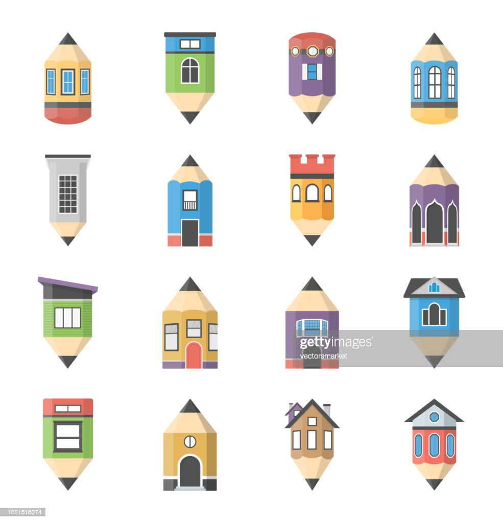 House architecture flat icons