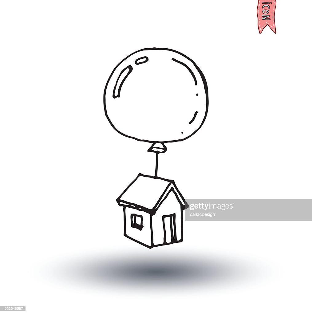 House balloon icon, vector illustration.