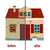 House before and after repair vector illustration.