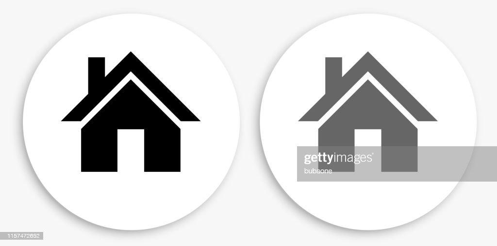 Huis zwart en wit ronde icoon : Stockillustraties