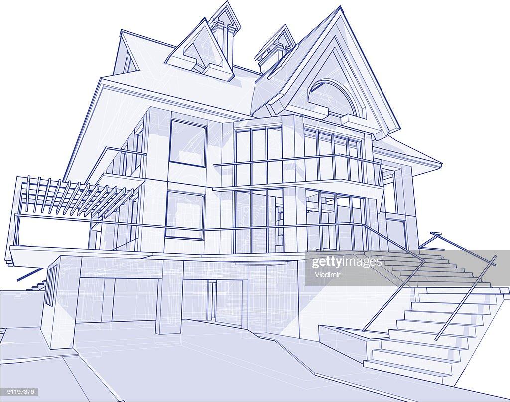 Haus Blueprint: 3 D Technische Konzept Zeichnen : Vektorgrafik