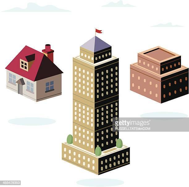 house, sandsteinziegel und highrise - stockwerk stock-grafiken, -clipart, -cartoons und -symbole
