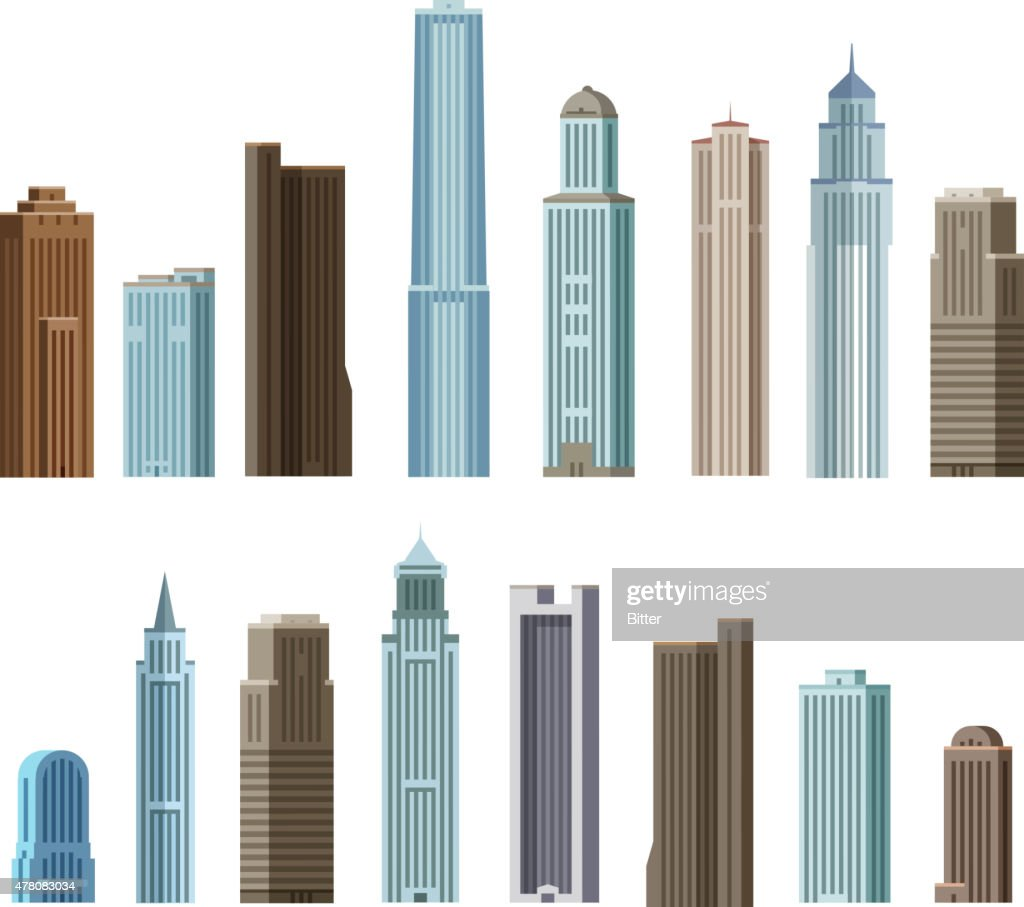 House, building, skyscraper. Set of colored icons. Vector illustration
