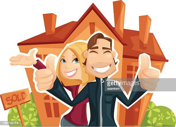 ilustraciones, imágenes clip art, dibujos animados e iconos de stock de casa de compra - propietario de casa