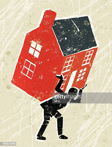 house carried by a businessman - subprime loan crisis stock illustrations