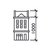 House characteristics line icon concept. House characteristics vector linear illustration, symbol, sign