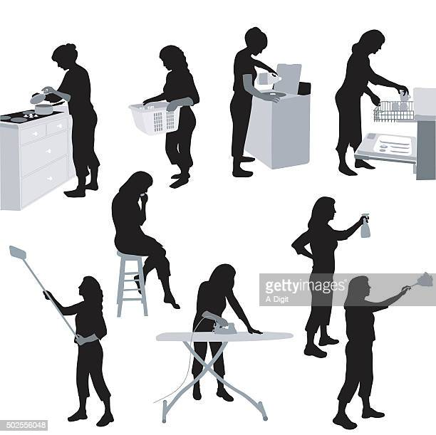house chores - housework stock illustrations, clip art, cartoons, & icons