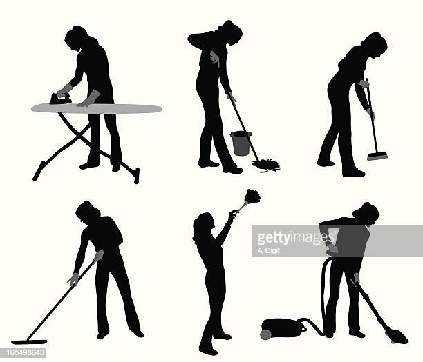 house chores vector silhouette - broom stock illustrations, clip art, cartoons, & icons