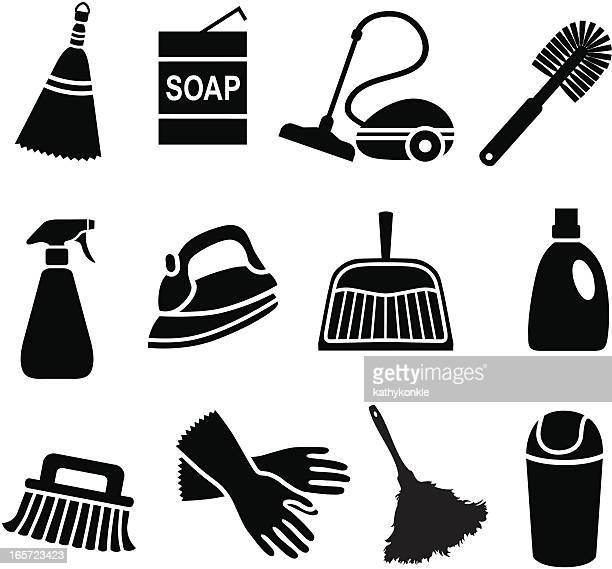 house cleaning icons - toilet brush stock illustrations, clip art, cartoons, & icons