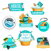 House cleaning, laundry and washing service icons