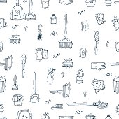 House cleaning. Seamless pattern background hand drawn doodle.