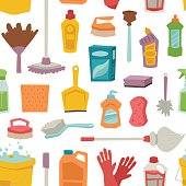 House cleaning tools seamless pattern