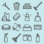House cleaning vector icons set made in line art style.
